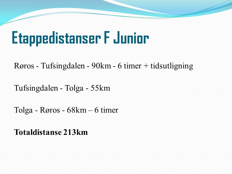 Etappedistanser F Junior