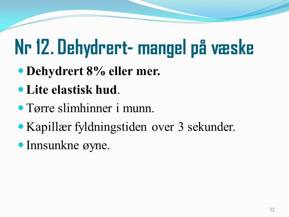 Nr 12. Dehydrert- mangel på væske