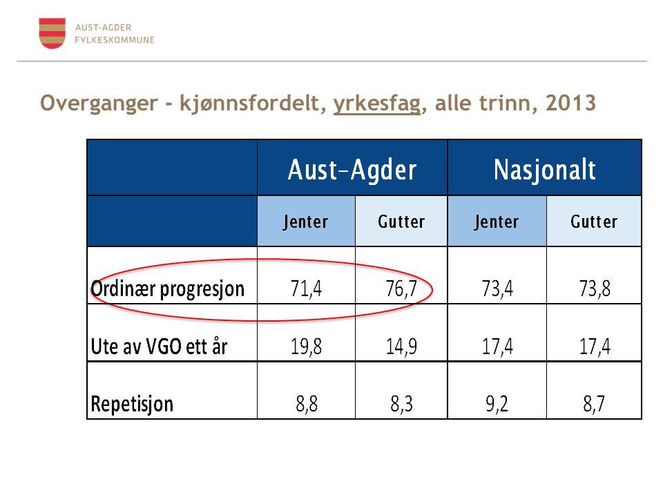 Overganger - kjønnsfordelt, yrkesfag, alle trinn, 2013