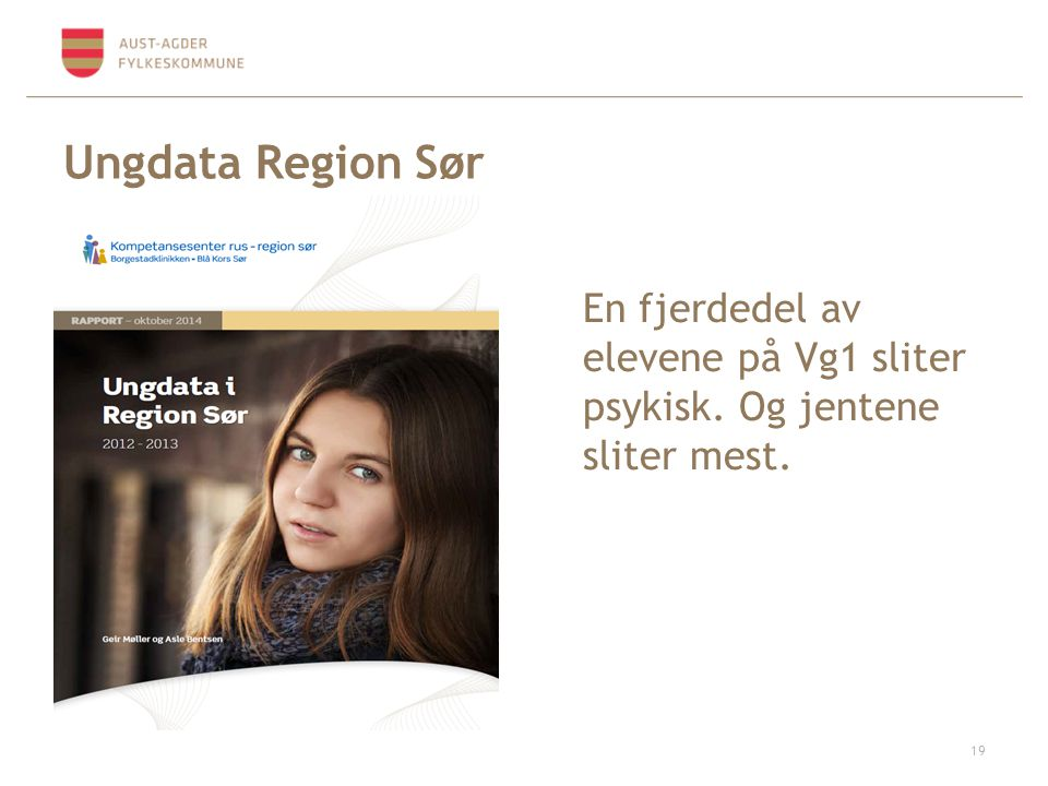 Ungdata Region Sør En fjerdedel av elevene på Vg1 sliter psykisk. Og jentene sliter mest.