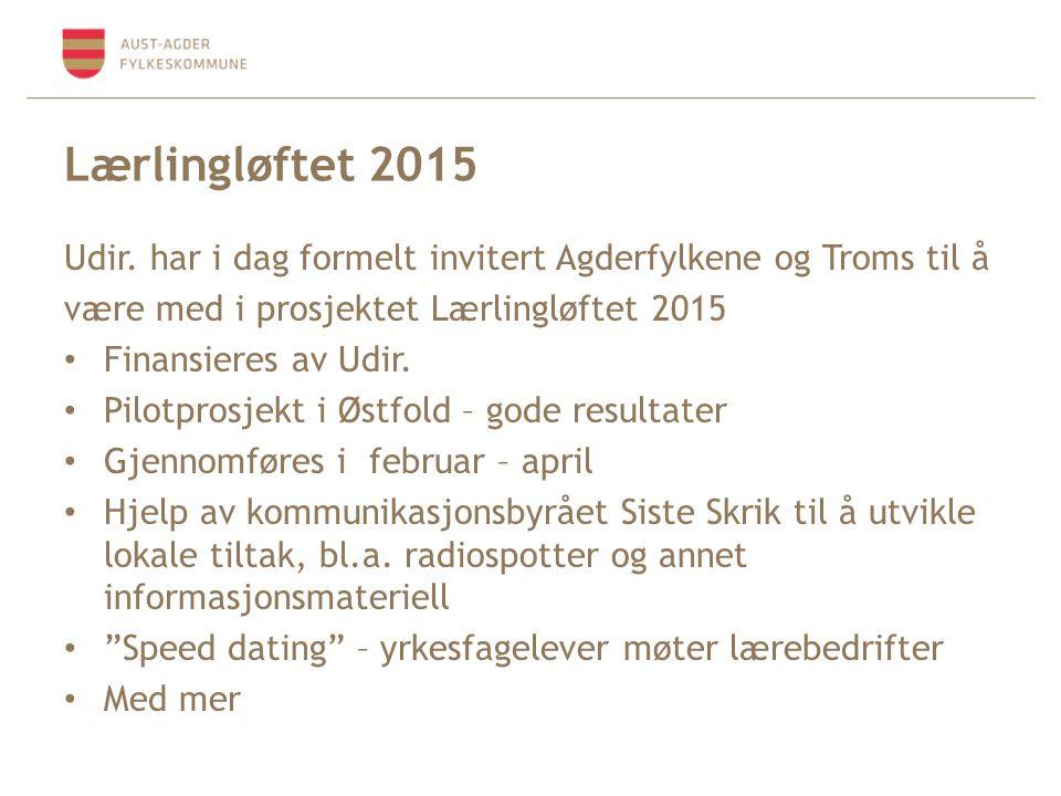 Lærlingløftet 2015 Udir. har i dag formelt invitert Agderfylkene og Troms til å. være med i prosjektet Lærlingløftet 2015.