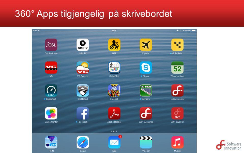 360° Apps tilgjengelig på skrivebordet
