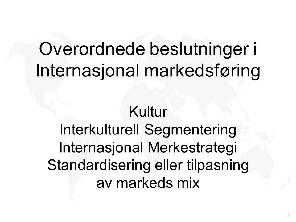 Overordnede beslutninger i Internasjonal markedsføring Kultur Interkulturell Segmentering Internasjonal Merkestrategi Standardisering eller tilpasning av markeds mix