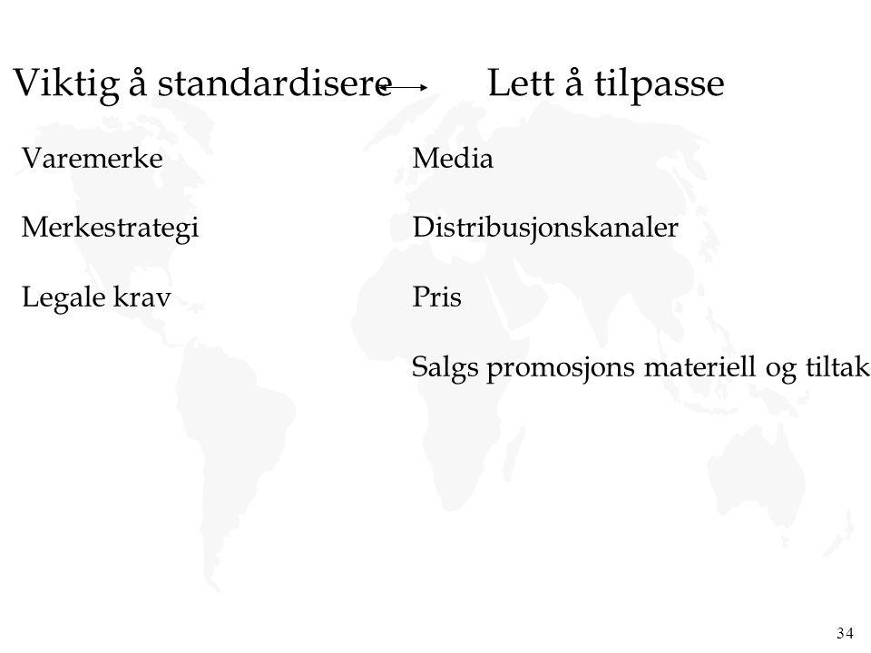 Viktig å standardisere Lett å tilpasse