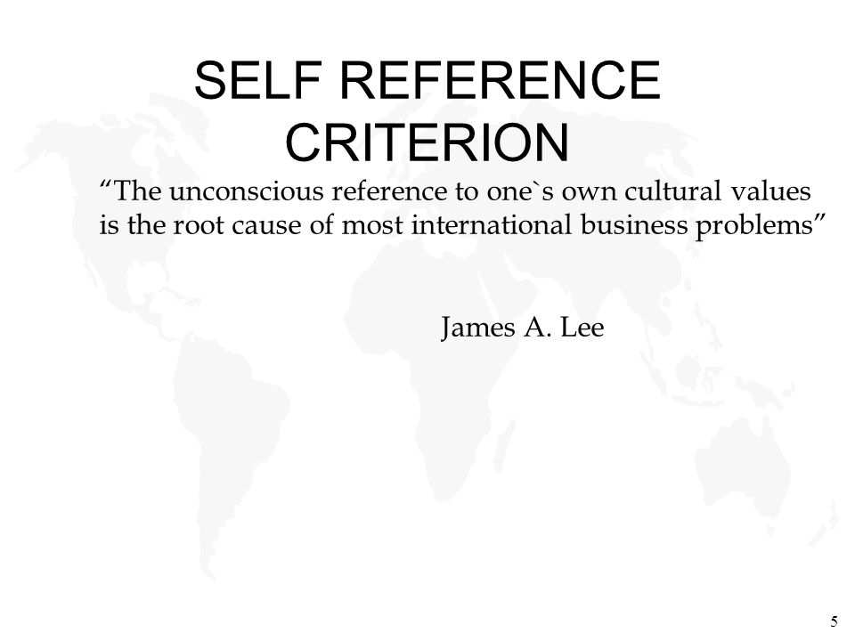 SELF REFERENCE CRITERION