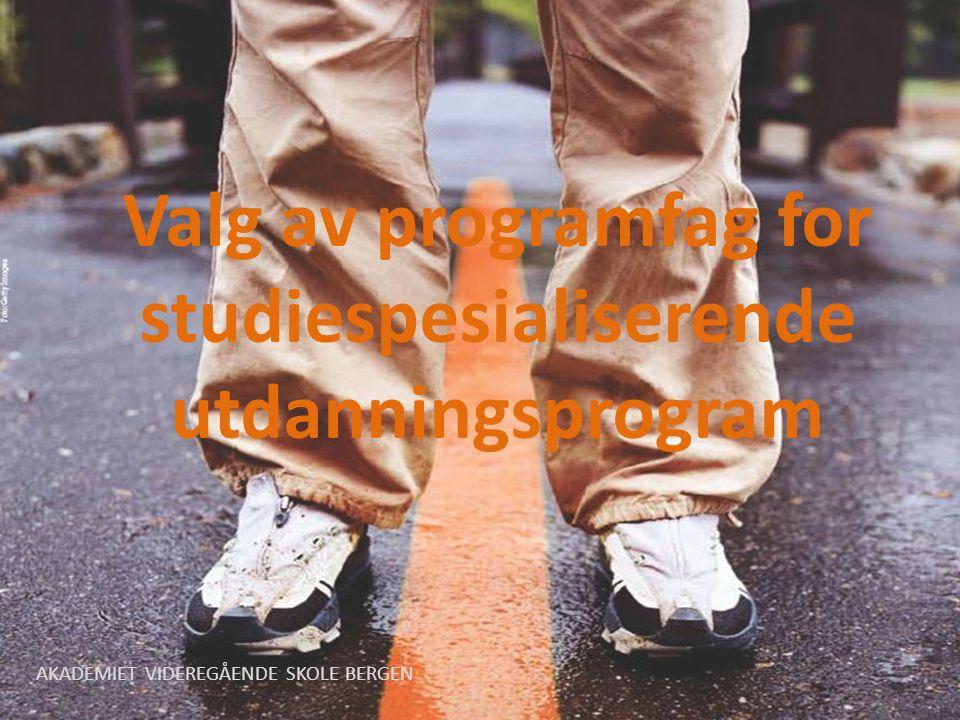 Valg av programfag for studiespesialiserende utdanningsprogram