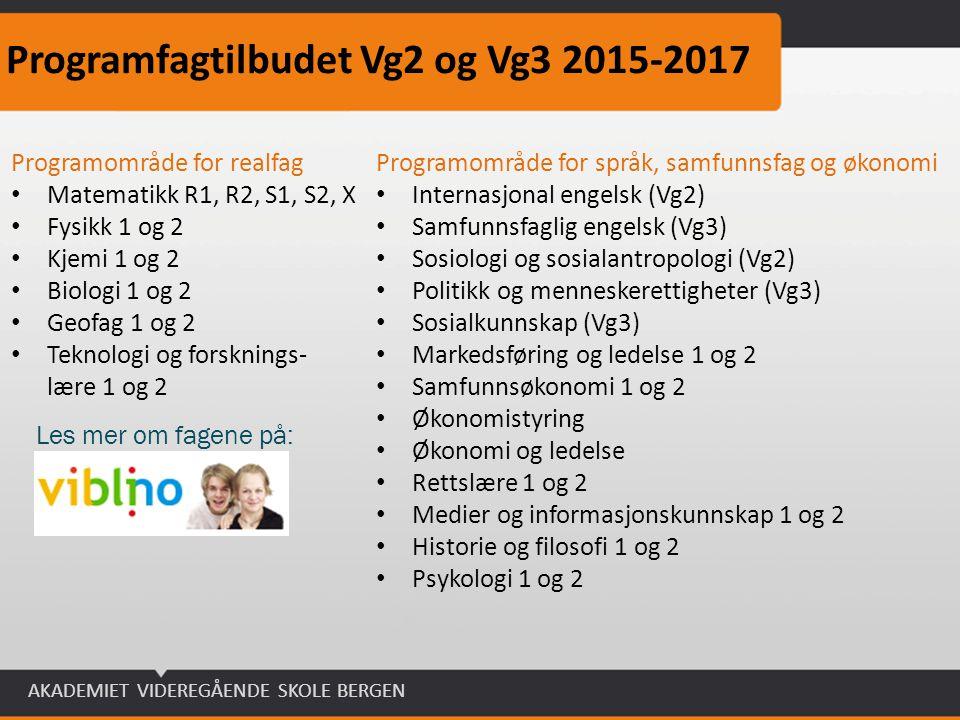 Programfagtilbudet Vg2 og Vg3 2015-2017