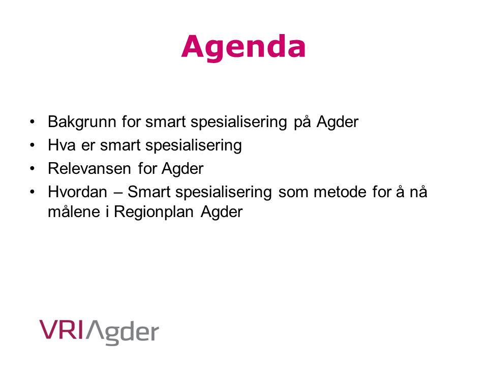 Agenda Bakgrunn for smart spesialisering på Agder