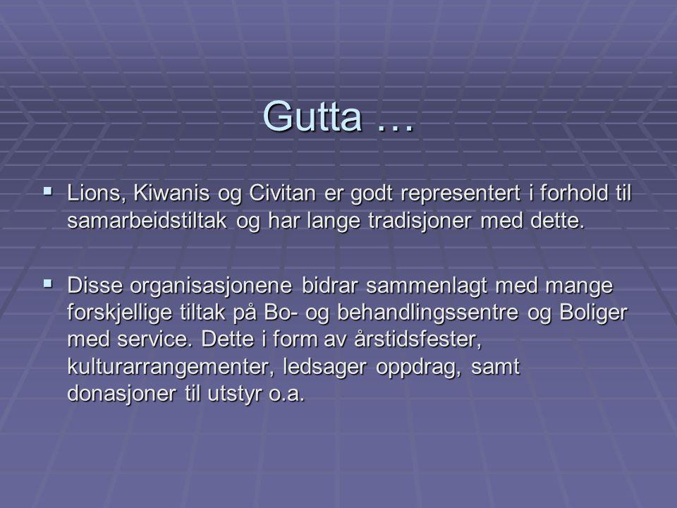 Gutta … Lions, Kiwanis og Civitan er godt representert i forhold til samarbeidstiltak og har lange tradisjoner med dette.