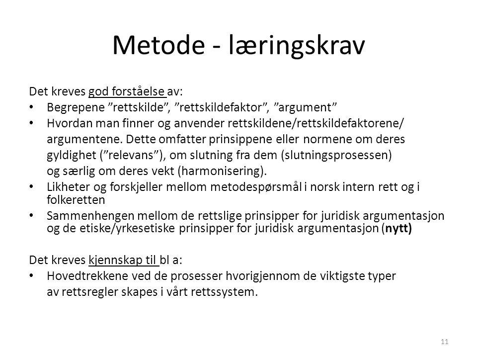 Metode - læringskrav Det kreves god forståelse av: