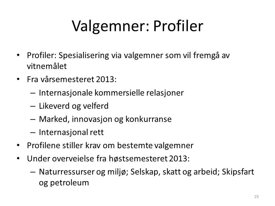Valgemner: Profiler Profiler: Spesialisering via valgemner som vil fremgå av vitnemålet. Fra vårsemesteret 2013:
