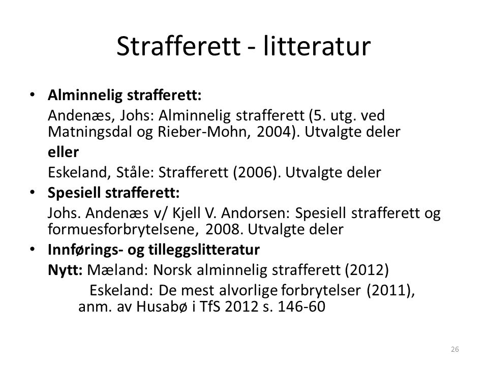 Strafferett - litteratur