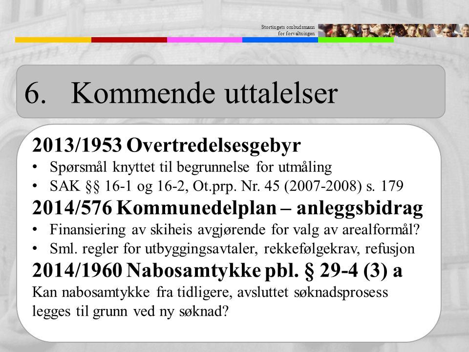6. Kommende uttalelser 2013/1953 Overtredelsesgebyr