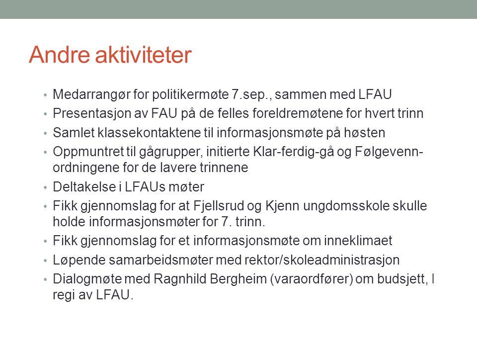 Andre aktiviteter Medarrangør for politikermøte 7.sep., sammen med LFAU. Presentasjon av FAU på de felles foreldremøtene for hvert trinn.