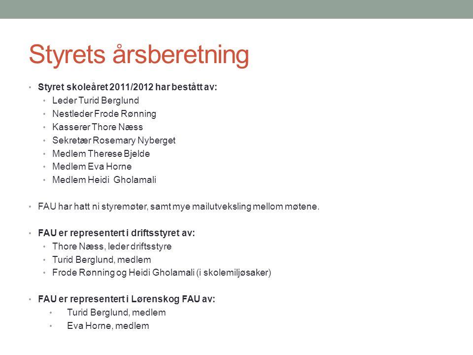 Styrets årsberetning Styret skoleåret 2011/2012 har bestått av: