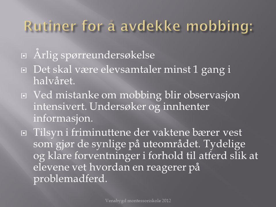 Rutiner for å avdekke mobbing: