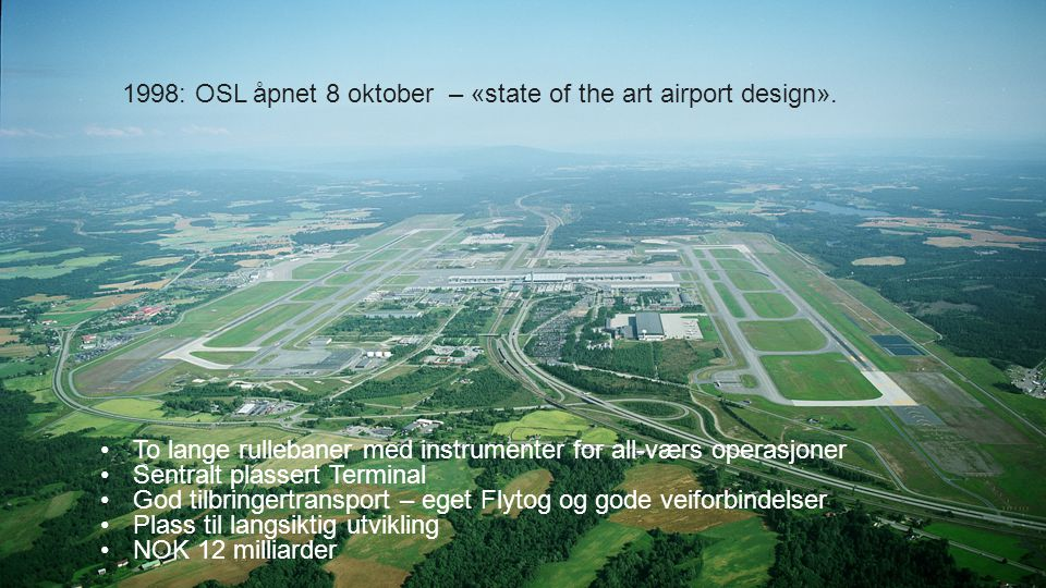 1998: OSL åpnet 8 oktober – «state of the art airport design».