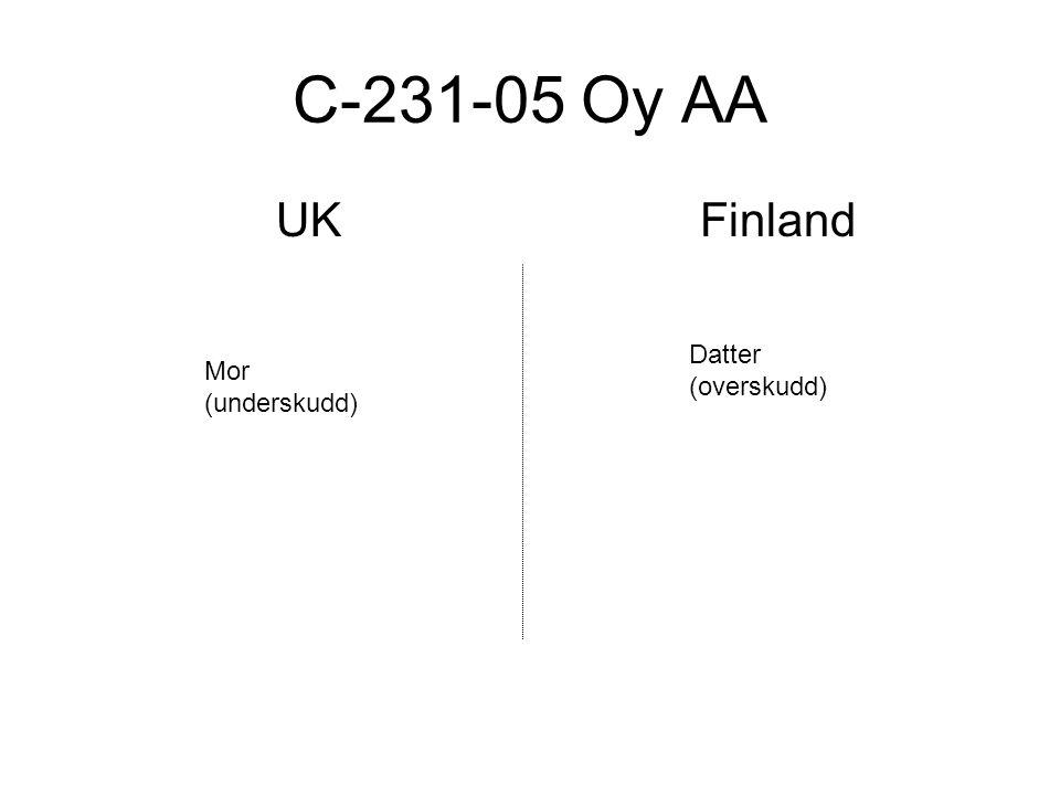 C-231-05 Oy AA UK Finland Datter (overskudd) Mor (underskudd)