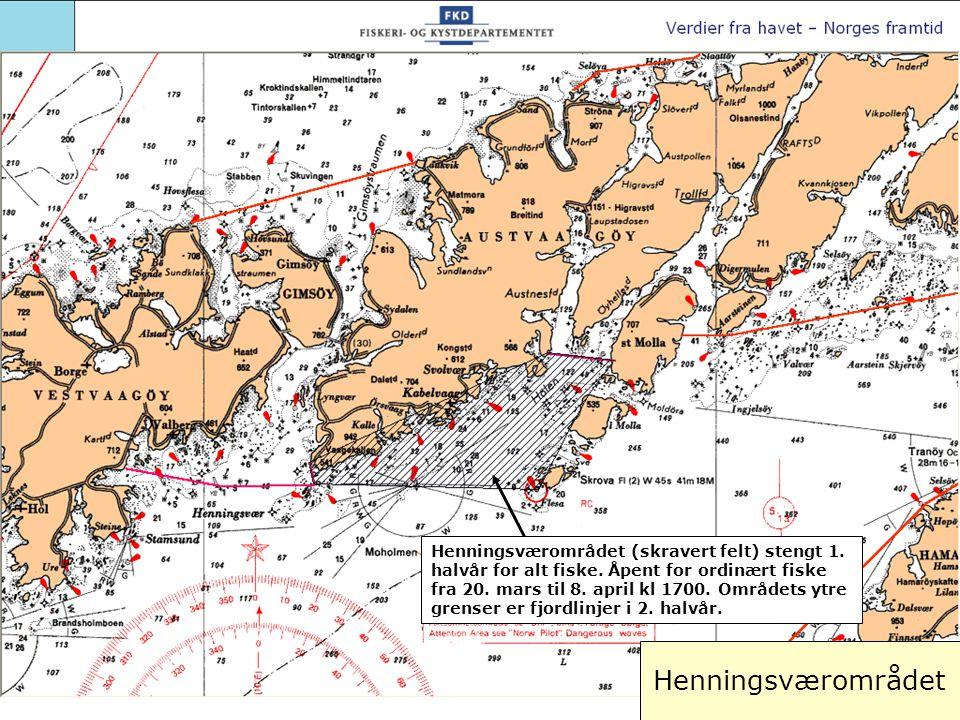 Henningsværområdet (skravert felt) stengt 1. halvår for alt fiske