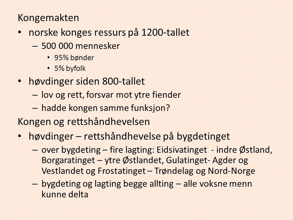 norske konges ressurs på 1200-tallet