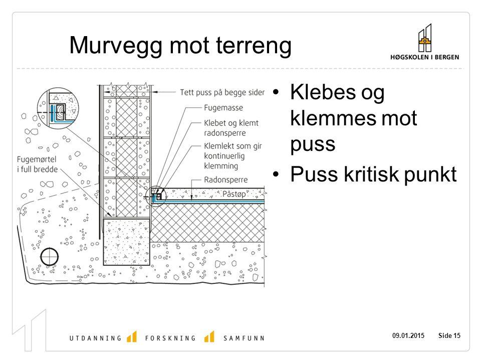 Murvegg mot terreng Klebes og klemmes mot puss Puss kritisk punkt