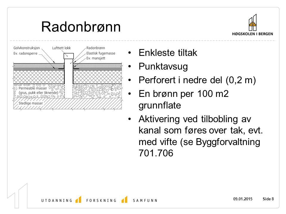 Radonbrønn Enkleste tiltak Punktavsug Perforert i nedre del (0,2 m)