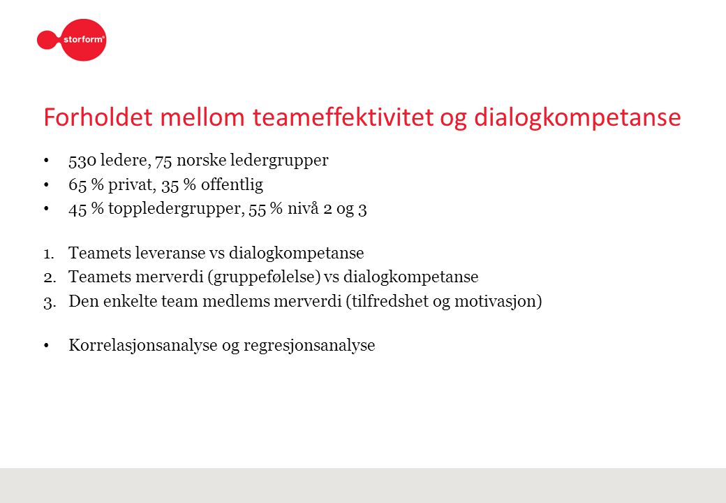 Forholdet mellom teameffektivitet og dialogkompetanse