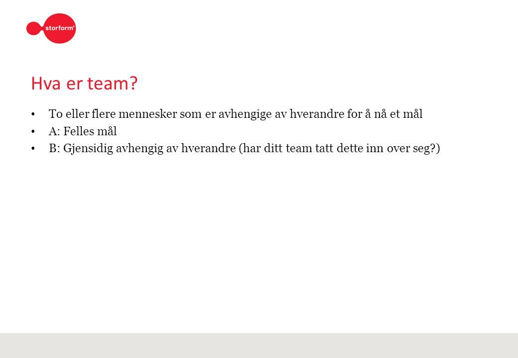 Hva er team To eller flere mennesker som er avhengige av hverandre for å nå et mål. A: Felles mål.