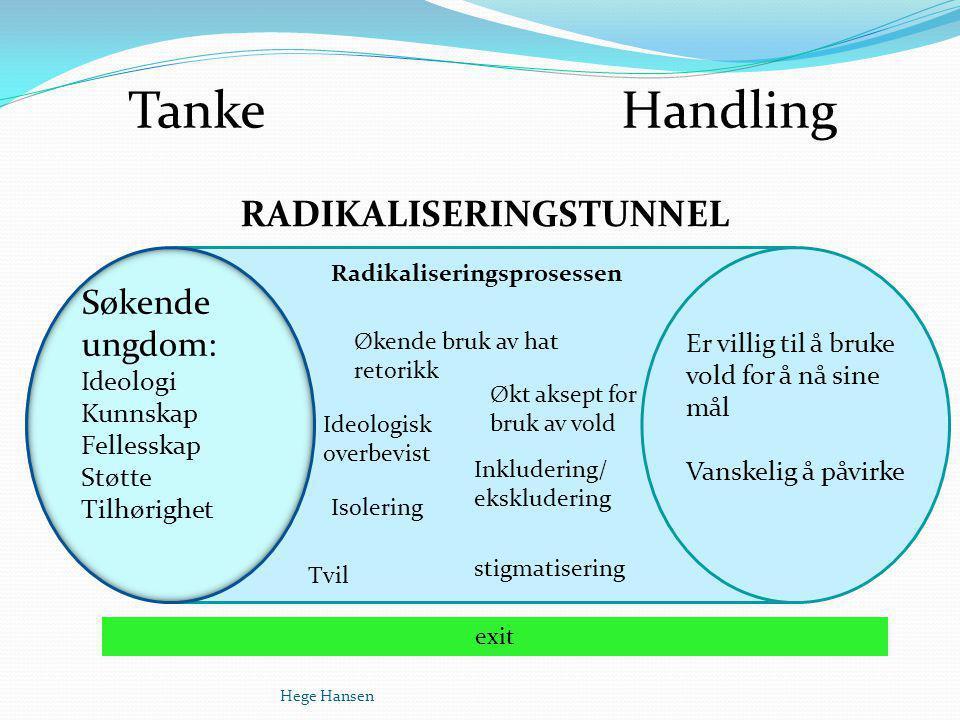 Tanke Handling RADIKALISERINGSTUNNEL Søkende ungdom: Ideologi