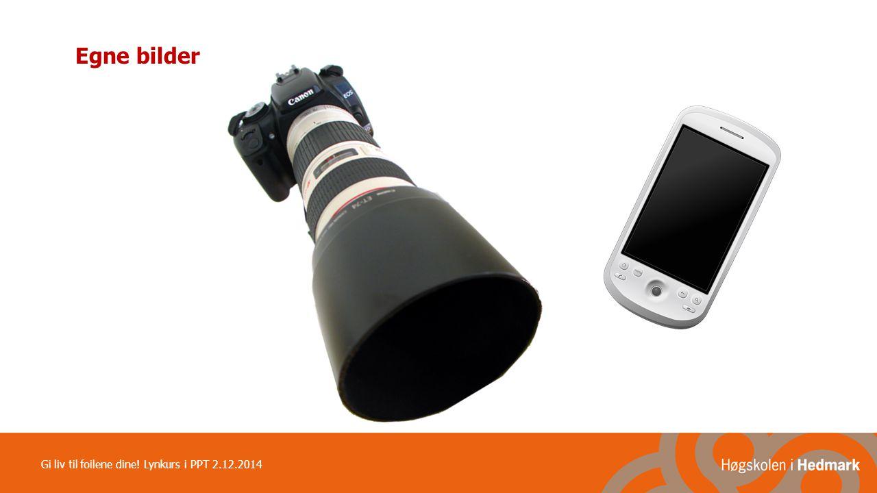 Egne bilder Gi liv til foilene dine! Lynkurs i PPT 2.12.2014