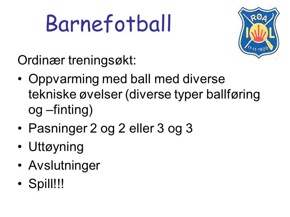 Barnefotball Ordinær treningsøkt: