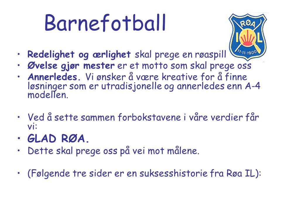Barnefotball GLAD RØA. Redelighet og ærlighet skal prege en røaspiller