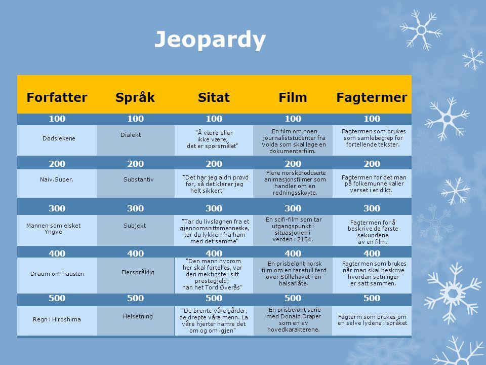 Jeopardy Forfatter Språk Sitat Film Fagtermer 100 200 300 400 500