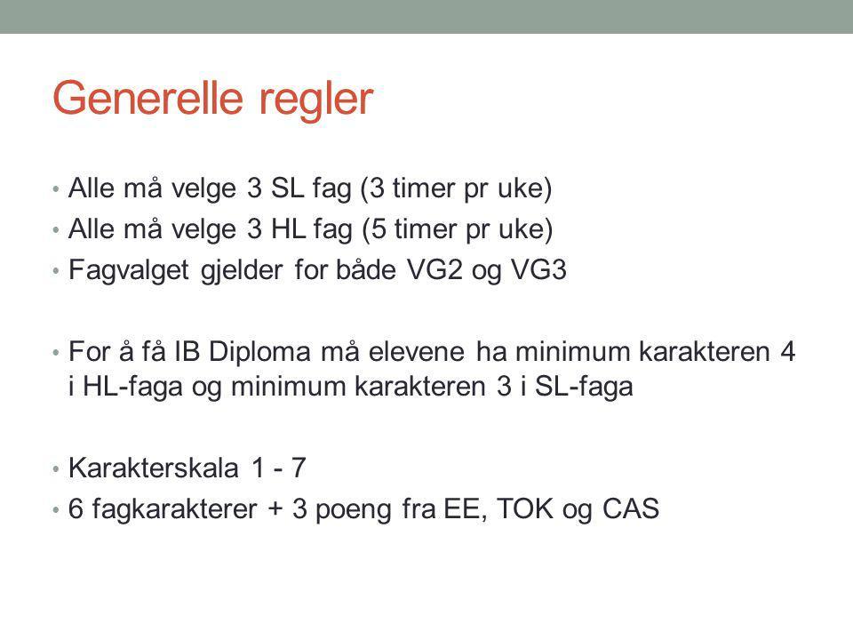 Generelle regler Alle må velge 3 SL fag (3 timer pr uke)