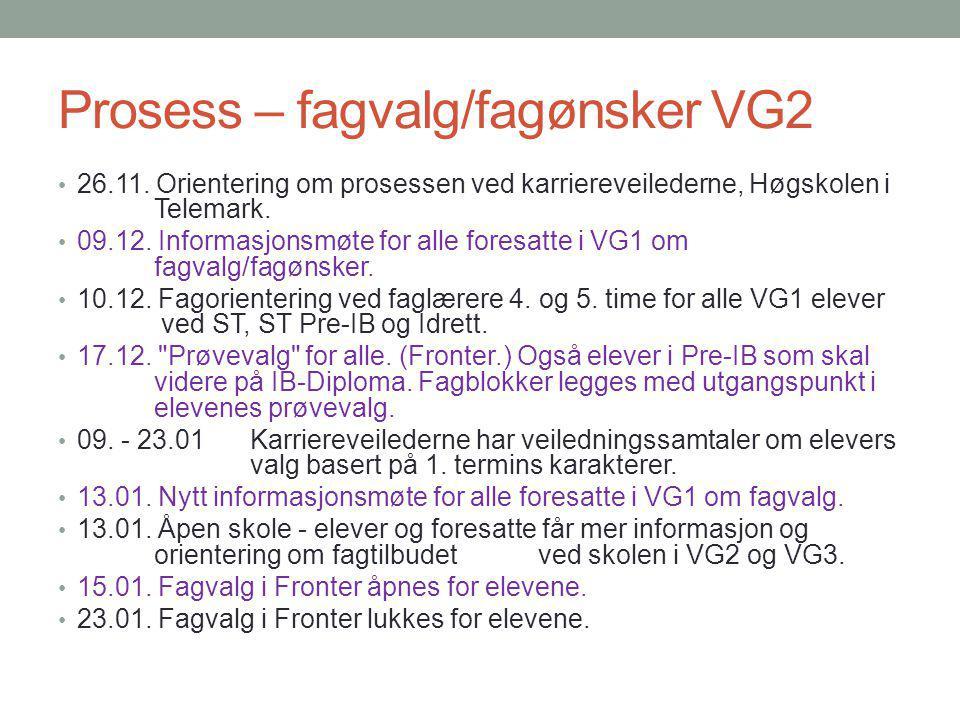 Prosess – fagvalg/fagønsker VG2