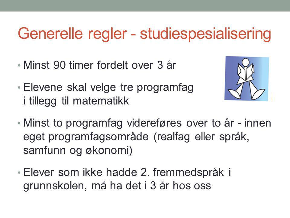 Generelle regler - studiespesialisering