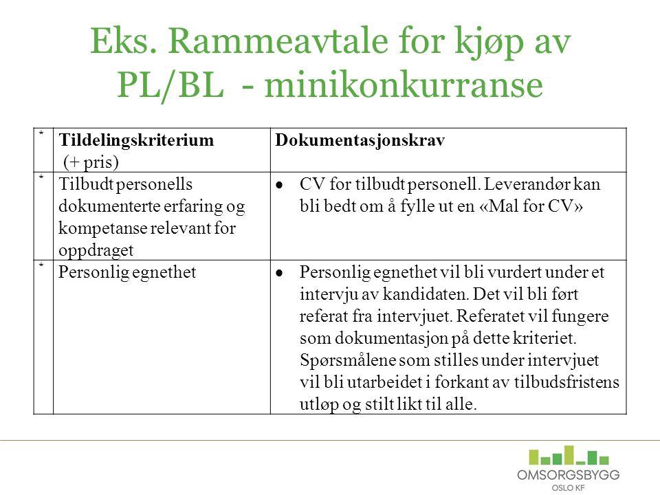 Eks. Rammeavtale for kjøp av PL/BL - minikonkurranse