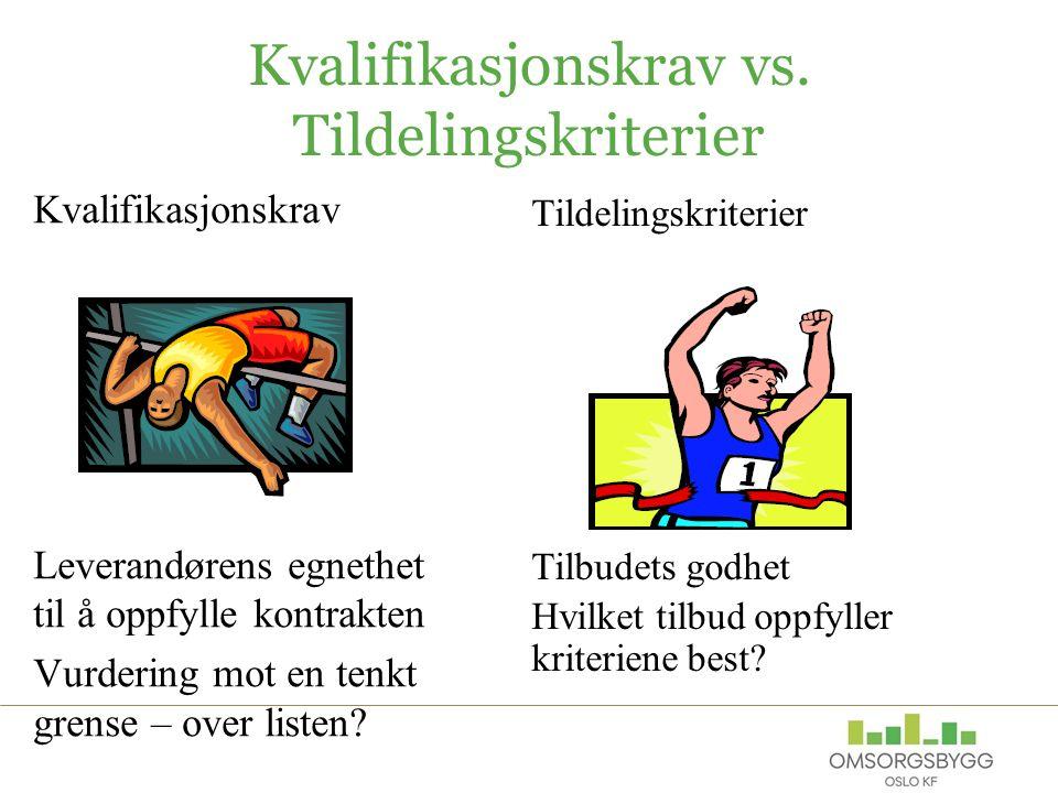 Kvalifikasjonskrav vs. Tildelingskriterier