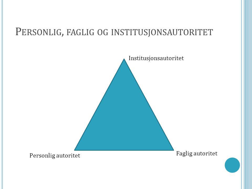 Personlig, faglig og institusjonsautoritet