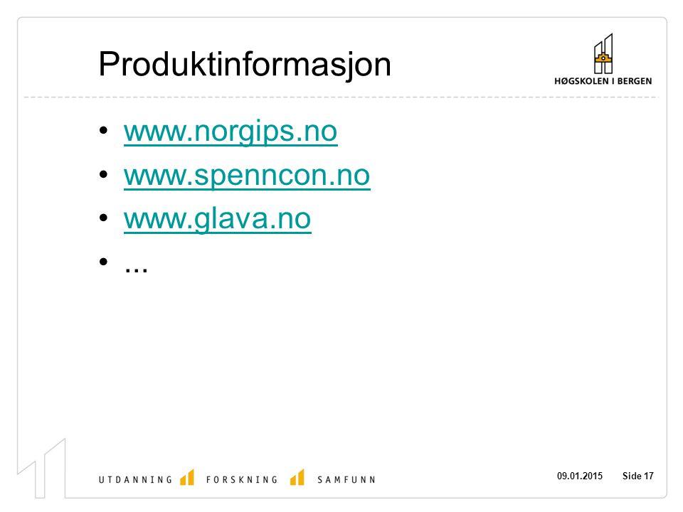 Produktinformasjon www.norgips.no www.spenncon.no www.glava.no ...