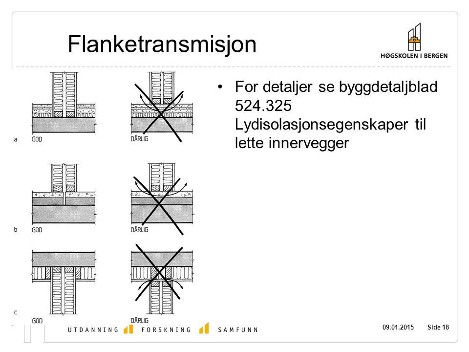 Flanketransmisjon For detaljer se byggdetaljblad 524.325 Lydisolasjonsegenskaper til lette innervegger.