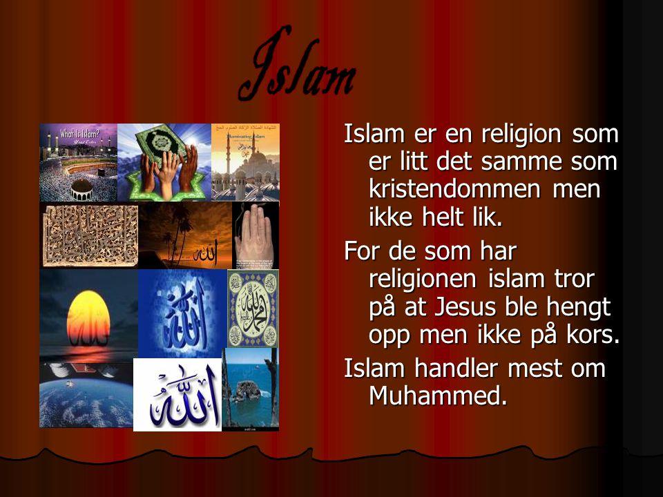 Islam Islam er en religion som er litt det samme som kristendommen men ikke helt lik.