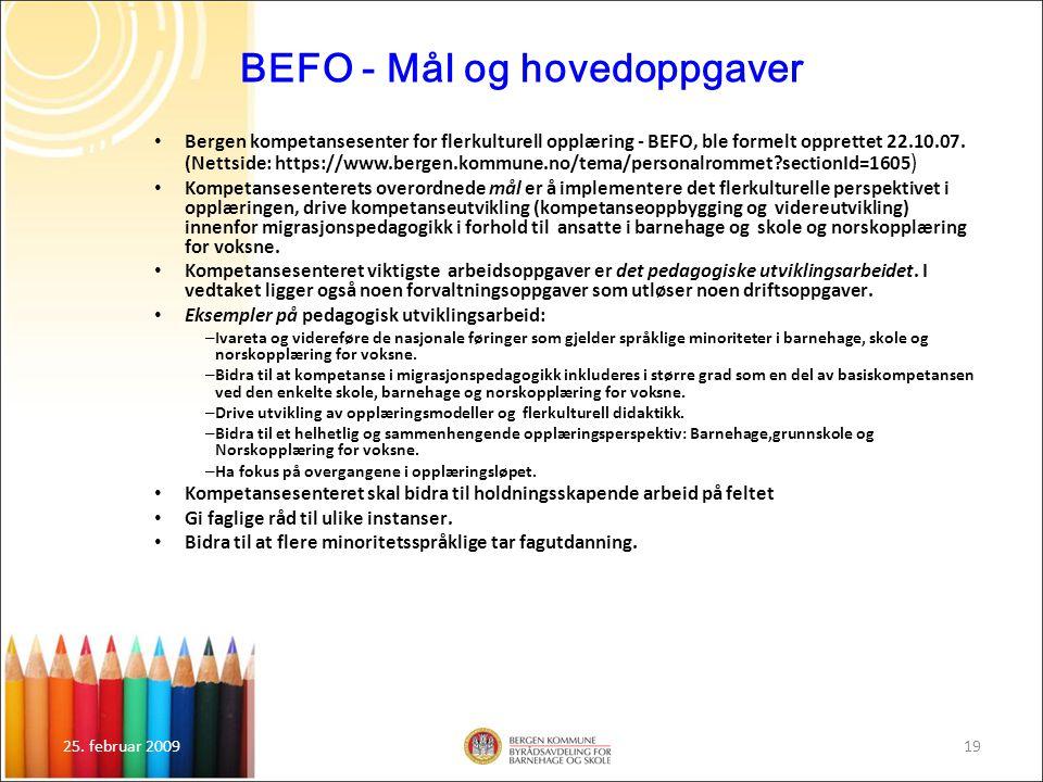 BEFO - Mål og hovedoppgaver