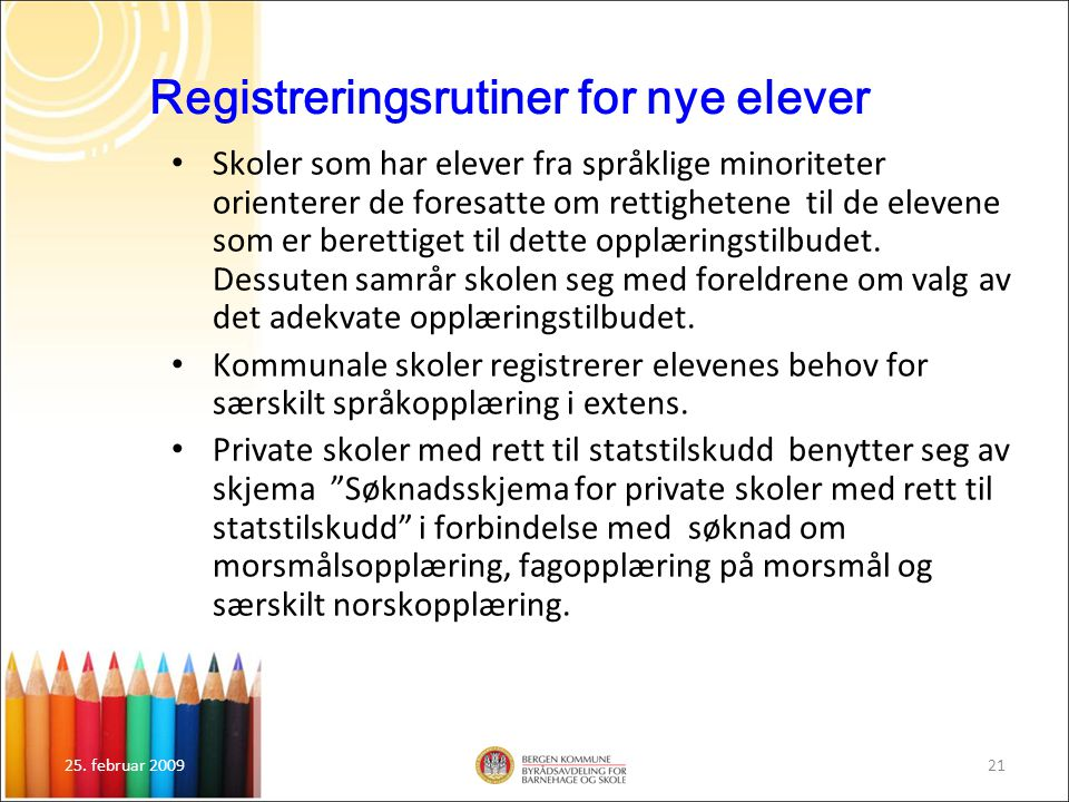 Registreringsrutiner for nye elever