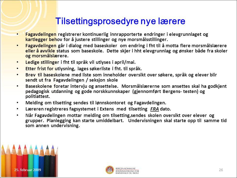 Tilsettingsprosedyre nye lærere