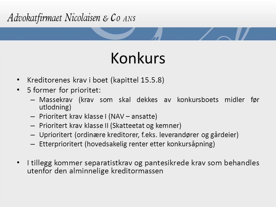 Konkurs Kreditorenes krav i boet (kapittel 15.5.8)