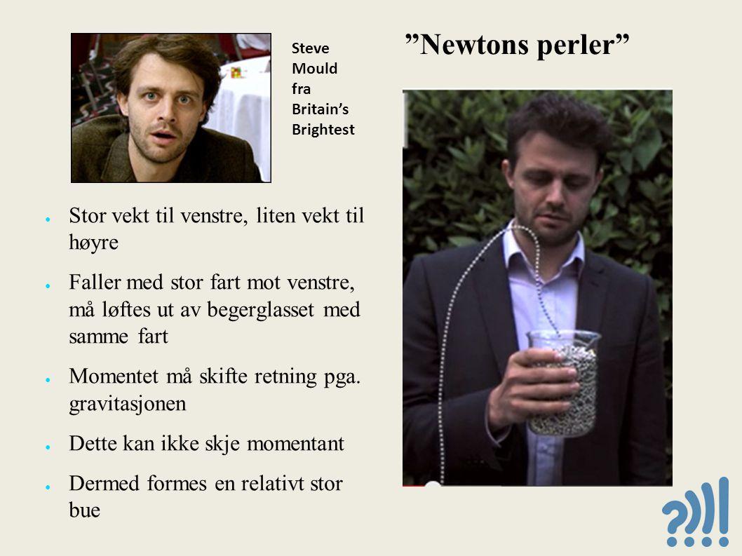 Newtons perler Stor vekt til venstre, liten vekt til høyre