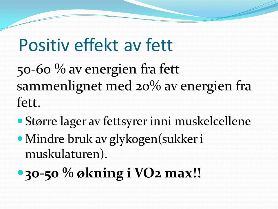 Positiv effekt av fett 50-60 % av energien fra fett sammenlignet med 20% av energien fra fett. Større lager av fettsyrer inni muskelcellene.