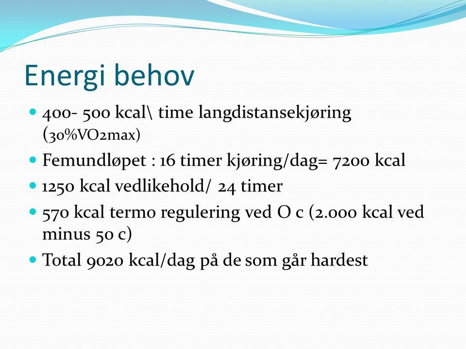 Energi behov 400- 500 kcal\ time langdistansekjøring (30%VO2max)