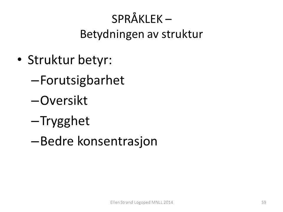 SPRÅKLEK – Betydningen av struktur